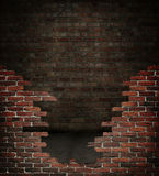 Red brick room. Dark grungy red brick room Stock Photography