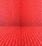 Red Brick Room Wall. Bright red brick room wall texture, background Royalty Free Stock Photo