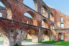 Red brick ruin with arches of a monastery building, Bad Doberan Stock Images