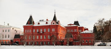 Red brick Russian revival style state bank in Orel, Russia, pano Stock Photos
