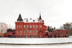 Red brick Russian revival style state bank in Orel, Russia, pano Royalty Free Stock Photography