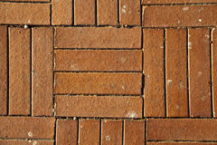 Sunny Red Brick Tiled Floor Background - Close Up Royalty Free Stock Photography