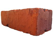 Red Brick - side. Side view of a red brick. Isolated on white background royalty free stock photos