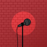 Red brick spotlight stand up comedy stage. Art Royalty Free Stock Photo
