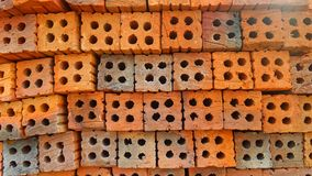 Red brick stack Stock Photo