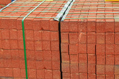 Red Brick Stack. For home construction Royalty Free Stock Photography