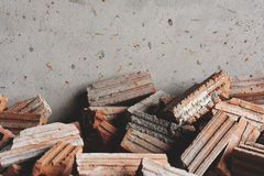 Red Brick Stack at the Wall, Building and Construction Material Royalty Free Stock Image