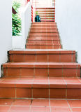 Red brick staircase Stock Photo