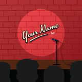 Red brick stand up comedy cartoon theme  illustration Royalty Free Stock Photography