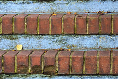Red Brick Steps with Leaves Stock Photo