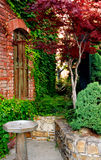 Red Brick and Stone Patio stock image