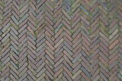 Red Brick Street Road Paving Arranged Across Herringbone Background Royalty Free Stock Images
