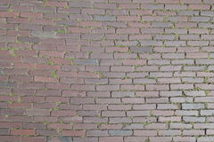 Red Brick Street Road Paving Arranged Across Herringbone Background. Street made of old red bricks arranged across with grass in the gaps Royalty Free Stock Photos