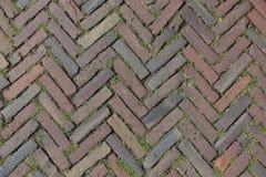 Red Brick Street Road Paving Arranged Across Herringbone Background Stock Photography