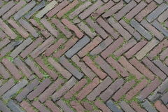 Red Brick Street Road Paving Arranged Across Herringbone Background. Street made of old red bricks arranged across with grass in the gaps Royalty Free Stock Image