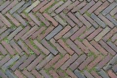 Red Brick Street Road Paving Arranged Across Herringbone Background Royalty Free Stock Image