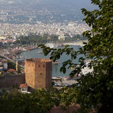 Red brick tower in Alanya Royalty Free Stock Image