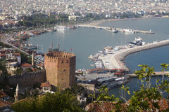 Red brick tower in Alanya Royalty Free Stock Images