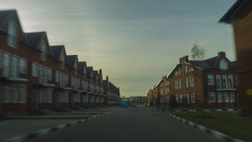 Red brick townhouses sunny day hyperlapse. Clip stock footage