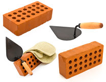 Red brick, trowel and gauntlet set isolated Royalty Free Stock Photos