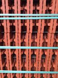 Red brick with turquoise tape Royalty Free Stock Image