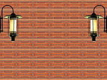 Red brick and vintage lamp background. Red brick and vintage lamp,use as background stock photos