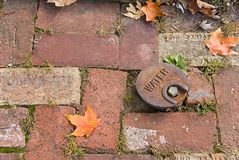 Red Brick Walk. A red brick walk with autumn leaves and water plug cap Royalty Free Stock Photos