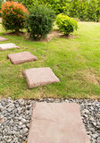 The red brick. Walkway in garden Royalty Free Stock Image