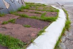 The red brick walkway. In garden Stock Photos