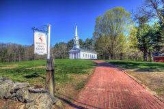 Red Brick Walkway And Martha Mary Chapel Sign - Sudbury Massachu Stock Images
