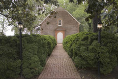 Red brick walkway to Westover Parish, Royalty Free Stock Photo