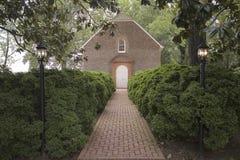 Red brick walkway to Westover Parish, Royalty Free Stock Photo