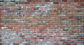 Red Brick Wall. A 5 by 2 meter brick background with plenty of character. Possible applications - a background for an edgy urban fashion shoot or a Rock CD cover Stock Photo