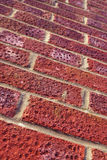 Red brick wall. Angled view of red brick wall Stock Image