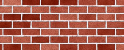 Red brick wall abstract background. Texture of bricks. Decorative stone. Realistic wide illustration. Template design for web banners stock photo