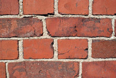 Red Brick Wall Background. Detail of a red brick wall, horizontal view, suitable for backgrounds Stock Images