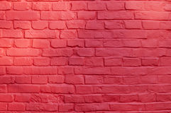 Red brick wall background. Stone texture - brick wall painted with red color Stock Photography