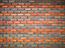 Red Brick Wall Background. New red brick wall background with cement paste and vignetting effect Stock Photos