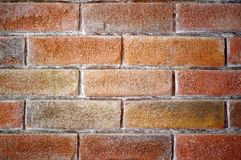 Red brick wall background. Background texture of close up of red brick and mortar wall Royalty Free Stock Photography
