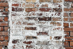 Red brick wall background with white paint Stock Images