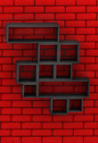 Red brick wall with black shelves Stock Photos
