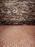 Red Brick wall with brick floor Royalty Free Stock Photos