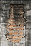 Red brick in wall cement Stock Images