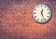 Red Brick Wall And Clock Royalty Free Stock Photo
