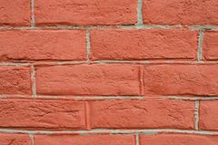 Red brick wall close perspective royalty free stock images