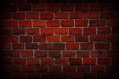 Red brick wall close-up, texture, background, grunge. stock photography
