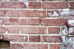 Red brick wall closeup background. The old red brick wall Stock Photo