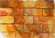 Red brick wall with cracks background in watercolor Stock Photo