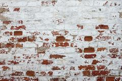Red Brick Wall With Damaged White Plaster Background Royalty Free Stock Photography