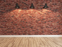 Red brick wall decoration under the three spot light rendering Stock Image